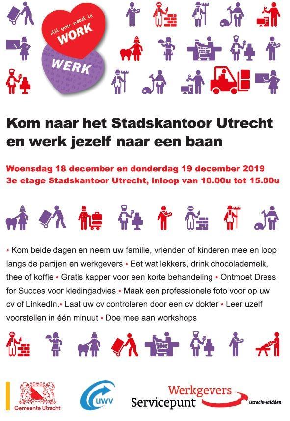 """Evenement """"All you need is work"""",  18 en 19 december 2019"""